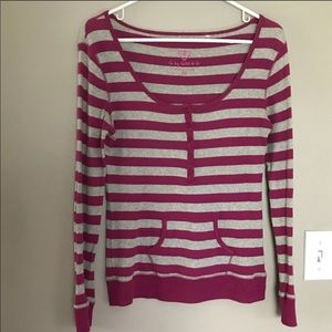 G by Guess | Pink & Gray striped thermal top M